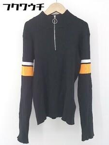 ◇ Ray BEAMS レイ ビームス ハーフジップ ニット 長袖 カットソー ブラック ホワイト オレンジ レディース