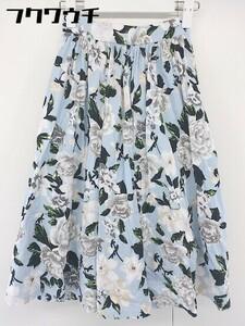 ◇ PEACH JOHN ピーチジョン 花柄 膝下丈 フレア スカート サイズS ブルー系 レディース
