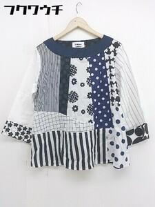 ◇ amicaga × BEAMS BOY 切替 総柄 長袖 カットソー シャツ サイズ36 ホワイト ブラック ネイビー レディース