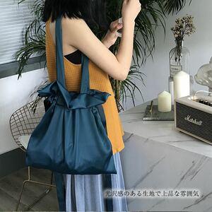 バッグ レディース ハンドバッグ ショルダーバッグ 肩掛けバッグ 巾着型 可愛い 青 ブルー おしゃれ 韓国 人気