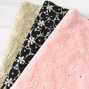 花刺繍 ドット柄 コットンレース生地 刺繍レース 綿レース 刺繍生地 ハギレ はぎれ 綿ローン 花柄
