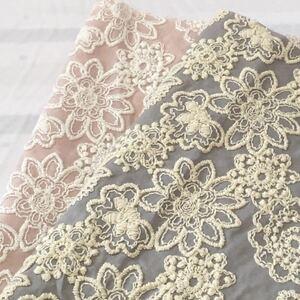国産高級刺繍 豪華刺繍 花刺繍 コットンレース生地 刺繍レース レース 刺繍生地 マーガレット ハギレ