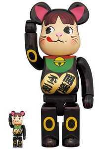 新品未開封 BE@RBRICK 不二家 招き猫ペコちゃん 黒メッキ 100%&400% ベアブリック メディコムトイ