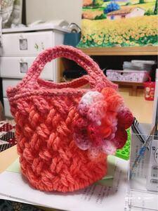 ニットバッグ ハンドメイド 毛糸バッグ