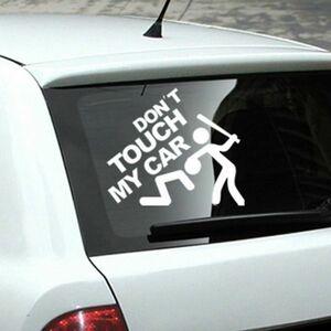 ◆ドント タッチ マイカー◆面白ステッカー◆Don't Touch My Car/危険触るな◆注意◆警告◆ 視線◆煽り運転/ ピラー窓に/ 車リアガラス/白
