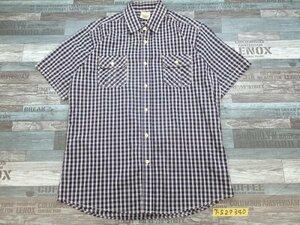 〈送料280円〉Timberland ティンバーランド メンズ チェック ダブルポケット 半袖シャツ 大きいサイズ XL 紺白