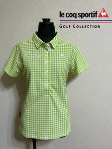 【美品】 le coq sportif GOLF ルコック レディース ゴルフ ウェア ギンガムチェック ドライポロシャツ サイズL 半袖 黄緑 白 デサント
