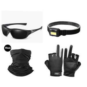 ◎お買い得セット◎偏光サングラス、釣り手袋黒、日焼け防止マスク、LEDヘッドライト