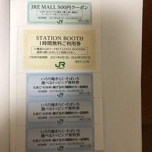 JR東日本 株主優待JREMALL500円クーポンステーションブース1時間無料券1000円相当蕎麦屋いろり庵きらくそばいちトッピング無料券