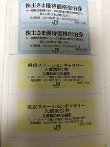 JR東日本 株主優待 宿泊券美術館ステーションギャラリー入館割引券ホテルメトロポリタンMETSメッツファミリーオフォルクローロ2枚ずつ