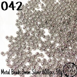 【042】メタルビーズ スペーサービーズ シルバー 3mm 600個