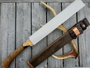 【未使用】土佐豊国剣鉈300黒 白鋼 樫柄 木鞘牛革バンド付