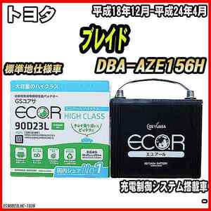 バッテリー GSユアサ トヨタ ブレイド DBA-AZE156H 平成18年12月-平成24年4月 EC90D23LHC