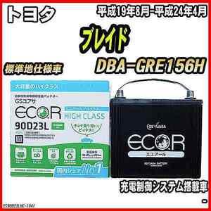 バッテリー GSユアサ トヨタ ブレイド DBA-GRE156H 平成19年8月-平成24年4月 EC90D23LHC