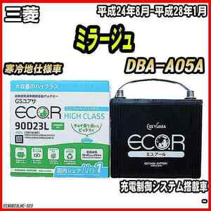 バッテリー GSユアサ 三菱 ミラージュ DBA-A05A 平成24年8月-平成28年1月 EC90D23LHC