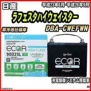 バッテリー GSユアサ 日産 ラフェスタハイウェイスター DBA-CWEFWN 平成23年6月-平成26年9月 EC90D23LHC