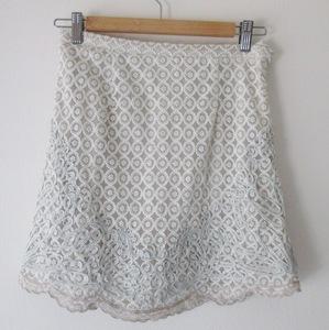 美品 DoiDoi ダーリンダーリン ミニスカート レース 刺繍 ベージュ グレー レディース サイズ38