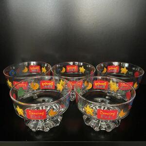 昭和レトロ かわいい足付き アイスクリーム皿 5客 デザート皿 フルーツ皿 イチゴ皿 氷コップ ガラス製
