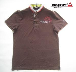 高級!!ルコックゴルフ lecoq sportif GOLF COLLECTION*ロゴ刺繍&ロゴプリント半袖ポロシャツ M 茶 ブラウン