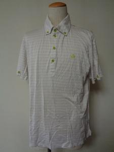 le coq sportif GOLF COLLECTION ルコック ゴルフ コレクション ポロシャツ ドットボーダー スマートフィット L ボタンダウン 半袖