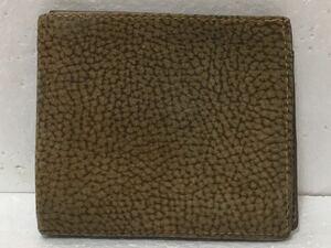 G1G015◆ ボルボネーゼ レッドウォール Borbonese redwall 本革レザー 茶系 ボタン開閉小銭入れ有り 二つ折り財布