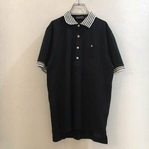 le coq sportif/ルコックゴルフ Mサイズ ポロシャツ 半袖 GOLF/ゴルフウェア 黒 白