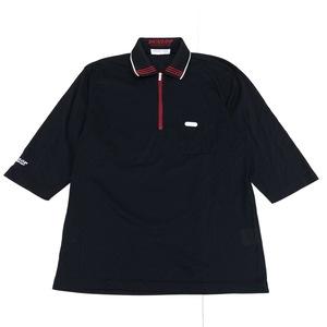 美品 DUNLOP ダンロップ 吸水速乾 ハーフジップ ドライ ゴルフシャツ M 黒 ブラック メンズ 五分袖 ポロシャツ 日本製 国内正規品