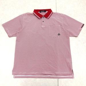 美品 le coq sportif GOLF ルコックゴルフ 吸水速乾 ロゴ刺繍 ドライ ゴルフシャツ M 赤×白 メンズ 半袖 ポロシャツ 国内正規品