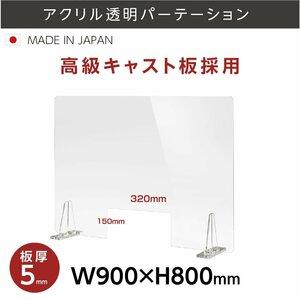 日本製 アクリルパーテション 透明 W900×H800mm 厚5mm 窓 デスク仕切り アクリル板 間仕切り 飛沫防止 パーティション kbap5-r9080-m3215