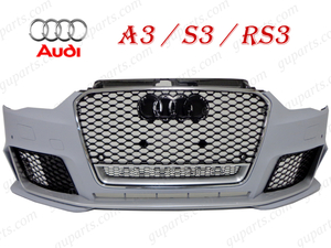 ▼ AUDI A3 S3 8V 8VCXSL 8VCPTL 8VCJSL 前期 → RS3 フロント バンパー クローム グリル リップ スポイラー エアロ キット ガーニッシュ