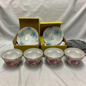 桜柄小皿 桜柄煎茶碗 茶托付き