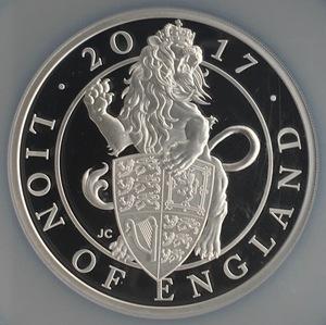 【最高鑑定!大型銀貨】2017年 イギリス クイーンズビースト ライオン 10ポンド 銀貨 PF70ULTRA CAMEO アンティークコイン モダン
