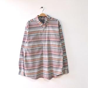 【送料無料】エディーバウアー コットン 長袖シャツ BDシャツ ボーダーチェック柄 メンズL アウトドア Eddie Bauer CA0237