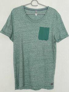 G-STAR RAW メンズ Vネック半袖Tシャツ ポケT 杢グリーン L