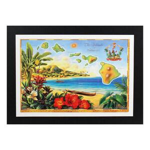 ハワイアンポスター マップシリーズ D-42 The Island of Hawaii アートサイズ:縦21.3×横30.7cm