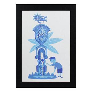 ハワイアンポスター ハワイアンシリーズ H-161 Shag Art Print Blue Tiki アートサイズ:縦30.6×横20.7cm