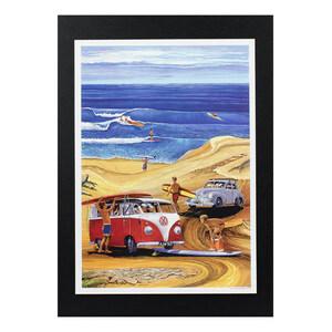 ハワイアンポスター 車 サーフィンシリーズ J-4 Red VW Wagon アートサイズ:縦30.4×横21.6cm