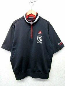 S1241:le coq sportif GOLF ルコック 半袖シャツ/黒/L/ポロシャツ メンズ ハーフジップシャツ ゴルフウェア ゴルフ カットソー デサント:3