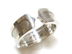 J◇K18 カルティエ 新品仕上済!2Cモチーフ リング 指輪 #51 11号 ホワイトゴールド 18金 Cartier