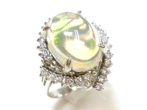 J◇PT900 新品仕上済!豪華大粒!ウォーターオパール 4.4ct & ダイヤモンド 0.4ct プラチナ リング 指輪 10.5号 ダイヤ