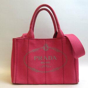 プラダ ミニカナパ ピンク トート ハンドバッグ 2way ABランク レディース 1BG439 キャンバス PRADA 中古 六甲道店