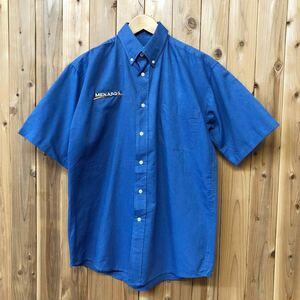 POWERTEX GROUP/メンズ S ワークシャツ ボタンダウンシャツ 半袖シャツ 刺繍 MENARDS 胸ポケ コットン×ポリエステル アメカジ USA古着