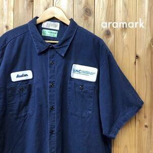aramark/アラマーク メンズ 3XLR 大きいサイズ ワークシャツ 半袖シャツ 紺 刺繍 ワッペン UAC 企業系 アメカジ USA直輸入 アメリカ古着