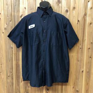 USA古着/UniFirst/メンズ XL メキシコ製 ワークシャツ 半袖 コットンシャツ 刺繍 ワッペン 二つポケット ネイビー アメカジ USA直輸入