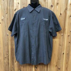 aramark/アラマーク メンズ 2XLR ワークシャツ 半袖シャツ 大きいサイズ 二つポケット 刺繍 ワッペン PENSKE アメカジ USA古着