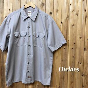 Dickies/ディッキーズ メンズ XL ワークシャツ 半袖シャツ 無地 二つポケット ポリコットン アメカジ 作業着 USA古着