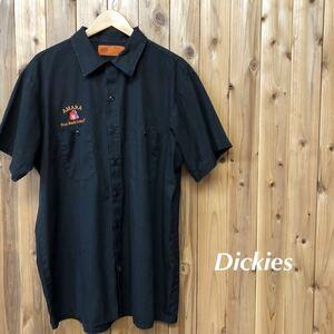 Dickies/ディッキーズ メンズ 2XL-RG ワークシャツ 半袖シャツ 刺繍 二つポケット 黒 ポリコットン アメカジ ストリート USA古着