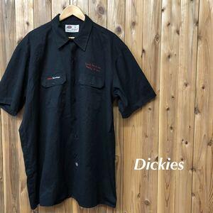Dickies/ディッキーズ メンズ 2XL ワークシャツ 半袖シャツ 黒 刺繍 ポリコットン 作業着 アメカジ ストリート USA古着 大きいサイズ