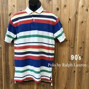 90's/Polo by Ralph Lauren ポロ ラルフローレン メンズ L 半袖 ポロシャツ トップス マルチカラー ボーダー ポニー刺繍 アメカジ USA古着
