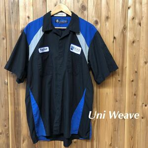 Uni Weave/Soft Comfort by UniFirst メンズ XL ワークシャツ 半袖シャツ 開襟 刺繍 ワッペン FOSS 企業系 作業着 アメカジ USA古着